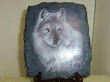 Silver Soverign Wolf Bradford Exchange slate shape resin collector plate