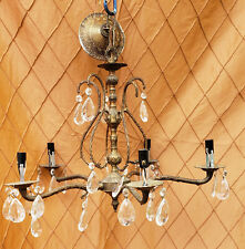 Vintage Brass/Bronze and Crystal Chandelier 5 Arm 5 Light Made in Spain