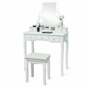 Vanity Dressing Table Set w/Removable Box &10 Dimmable Bulbs Touch Switch White