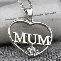 MUM Heart Crystal Necklace Silver Xmas Jewellery Gifts For Her Mother Mom Women