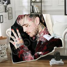 3D Sherpa Blanket Sofa Couch Quilt Cover Throw Fleece Velvet Rapper Lil Peep