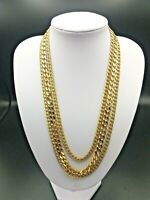 Beautiful Woman's Vintage Gold Coloured Monet 3 Three Strand Necklace
