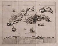 1725 Van der Aa Pianta Veduta Isole Tremiti Tremitane Olim Diomedeae Insulae