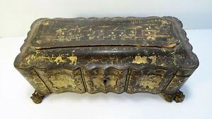 Chine Canton XIXème  Ancien Coffret boite en laque noire et or