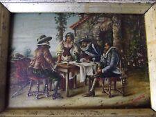 ancien tableau miniature huile sur bois mousquetaire signé second scène animée