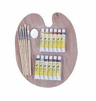 Exerz CE0017 Paint Brushes & Palette Set - 6 Brushes - 12 Acrylic Non-Toxic P...