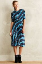Anthropologie Plenty Tracy Reese Wintertide dress diagonal stripes blue XSP