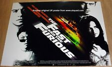 THE FAST AND THE FURIOUS  POSTER ORIGINAL 2001 CINEMA ISSUE  UK MINI QUAD MINT
