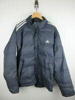 Vintage Adidas Puffer Jacket Mens Size L Duck Down Navy Full Zip Heavy Weight 02