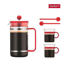 bodum Bistro Coffee Set French Press Coffee Maker 2 Mugs 2 Spoons Red New in Box