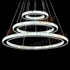 Pendant Led Light Ceiling Lamp white 3 Ring Galaxy Crystal Chandelier 30*50*70cm