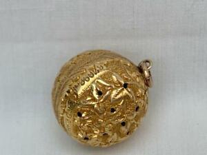 Fine Antique Hallmarked 9 Carat Gold Pendant Orb Vinaigrette By Henry Matthews.