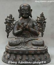 "14"" Old Tibet Buddhism Purple Bronze Temple Lotus Je Tsongkhapa Buddha Statue"