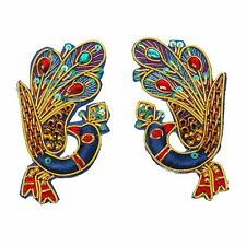 Multicolor Peacock Applique Thread Embroidered Long Patch Craft India New 1 Pair