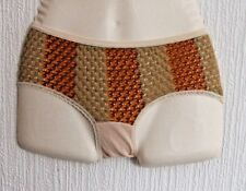 Vintage Size 10-12 1960s Stretchy Nylon Knickers Panties Bikini Briefs natural