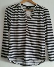 Ladies H & M Black and Cream Striped Long Sleeved Top Size XS New