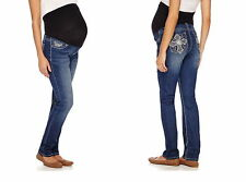 Love Indigo Jeans Size 2X Maternity Skinny Denim Embroidered Back Pockets Plus