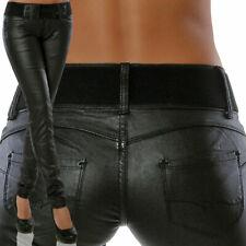 Damen Kunstleder Hose Hüfthose Lederoptik Lederimitat Skinny Röhre inkl. Gürtel