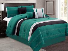 7-Pc Camden Modern Stripe Chamshell Comforter Set Teal Green Black Silver Queen