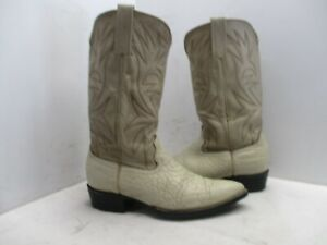 Cream Bullhide Leather Pointed Toe Cowboy Boots Mens Size 8 N
