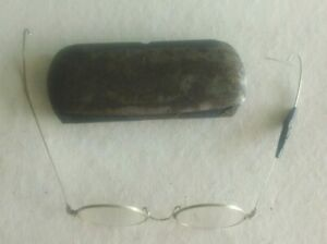 Pair of Antique Wire-Rimmed Eye Glasses in Metal Case-Great Costume Item