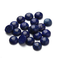 Genuine Gemstone 8-12mm Round Flat Back Cabochon Jewelry Beads Lapis lazuli10Pcs