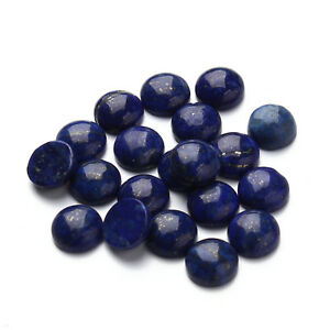 Genuine Gemstone 8-12mm Round Flat Back Cabochon Jewelry Beads Lapis lazuli10Pcs