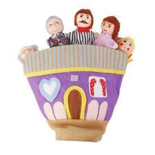 Wooden Head Family Dolls Hand Glove Puppet Preschool Kids Story Learning Toy