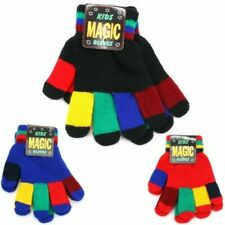 Stretch Children's Gloves Magic Multi Coloured Red Blue Black School New
