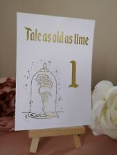 Wedding Table Number Cards Disney Theme Beauty And The Beast Gold Foil