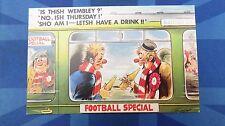 Bamforth Comic Postcard 1970s Railway Railroad Carriage WEMBLEY Station Football