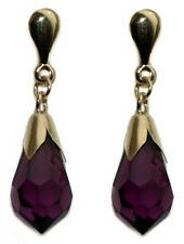 9ct Yellow Gold Purple Pear Swarovski Elements Crystal Drop Earrings - Boxed
