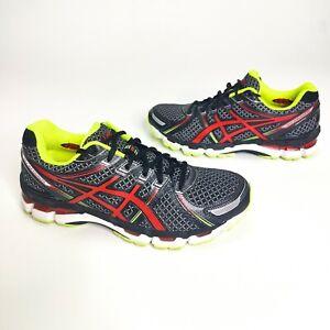 Asics Gel Kayano 19 Running Shoes Men's Size 10 Gray Red T300N CLEAN