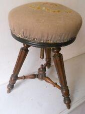 LOT BEAU TABOURET PIANO SALON CHAIR REGLABLE XIXe BOIS WOOD NO COPIE TAPIS