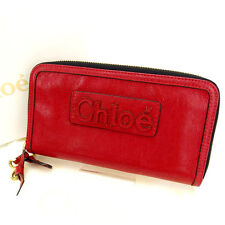 Chloe Wallet Purse Long Wallet Red Woman Authentic Used Y765