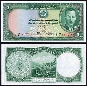 Afghanistan 5 afghanis 1939 King Muhammad Zahir & Band-e-Amir Dam P22 UNC