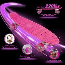 Skateboards Complete 22 Inch Mini Cruiser Retro Skateboard with Led Light Up New