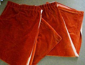 Pair of Vintage Unlined Dark Orange Velvet Curtains 160cm drop