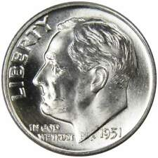 1951 D 10c Roosevelt Silver Dime US Coin BU Uncirculated Mint State