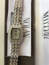 Nolan Miller Glamour Collection Silver Tone Clear Crystal Watch Orig Box