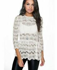 fa2ac514b7071 Boohoo Boutique Isobel Crochet Lace Peplum Top White - 6