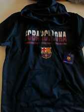 FC Barcelona New Men's XL Short Sleeve Hoodie Navy Blue FCB Soccer Club NWT