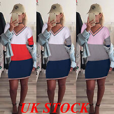 UK Women Long Sleeve V Neck Bodycon Ladies Evening Party Casual Mini Dress