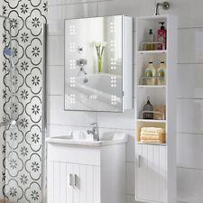 60 LED Mirror Cabinet Demister Shaver Socket Bathroom Adjustable Shelves Storage