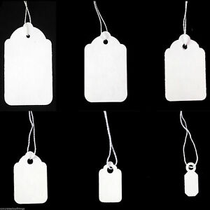 White Strung Tie On Tags Labels Retail Luggage  / price tags with string FREE PP