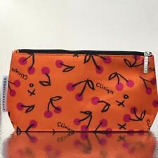 New Clinique Cosmetic Bag Travel Case Pouch  Zip Top Orange Cherry
