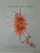 1962 Lanvin Sun-N-Fun  Tahitian tan tanning suntan lotion vintage ad