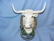 More details for bulls head cast iron heavy garden man cave shed house wall farm barn holder