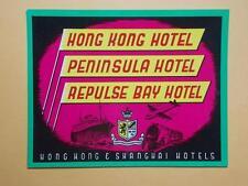 """Hong Kong 1930's """"Hong Kong Hotel, Peninsula Hotel"""" Luggage Label Rare"""