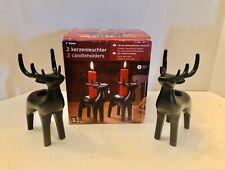 Vtg Tchibo Set Of 2 Christmas Powder Coated Metal Deer Candle Holders Germany